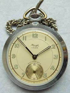 Kienzle 6 rubies -- men's pocket watch from the 1970s, Germany