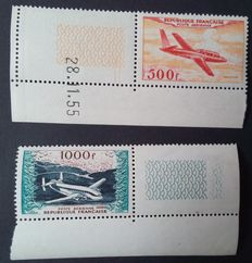 France 1964 - Aerial post, protoypes 500 f. and 1000 f. - Yvert no. 32 and 33