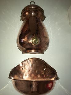 Copper fountain with coppersmith collector vat - France - ca. 1900