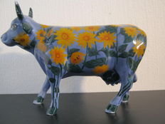 Diane Flynn-Yi for CowParade - porcelain cow - medium ceramic - Sunflowers by Claude Monet - Moo-nay's Garden - retired model with thin legs