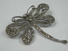 Silver brooch with marcasite, dragonfly, Italy, circa 1940