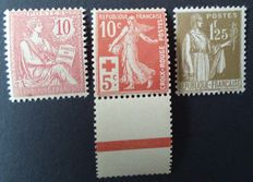 France 1902/1933 - retouched Mouchon 10 c. Pink, Red Cross 10c. + 5c. Red and Peace 1f.25 olive - Yvert n° 124, 147 and 287