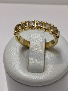 18 kt yellow gold half wedding ring with diamonds, H VS-SI, 1.04 ct - Size 53.