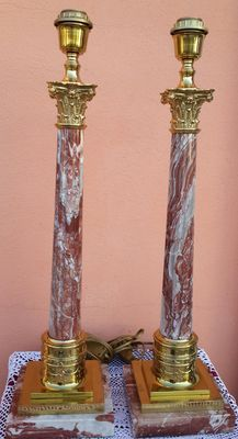 Pair of candlesticks on French red marble column surmounted by splendid grooved capitols-France early 20 century