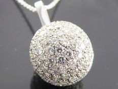 White gold spherical pendant set with 154 brilliant cut diamonds, 1.50 ct in total