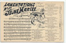Postcards with sheet music, 71x man-known French songs from the period 1900-1935