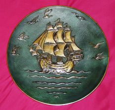 Pierre Le Faguays (1892-1925) - Bronze Plate with Nautical Theme - Signed