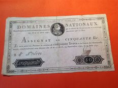 France - Assignât of 50 livres with royal image from 19 June 1791 - Pick A43