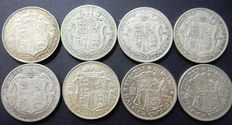 United Kingdom - ½ Crown 1914/1930 George V (8 coins) - silver
