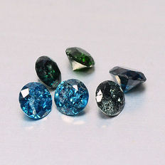 Lot of 6 Blue Green diamonds  l1 to l3 tcw 0.48 ct