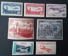 France 1930/1957 – Lot of 7 air mail stamps – Yvert n° 5, 6, 7, 28, 29, 32 and 33