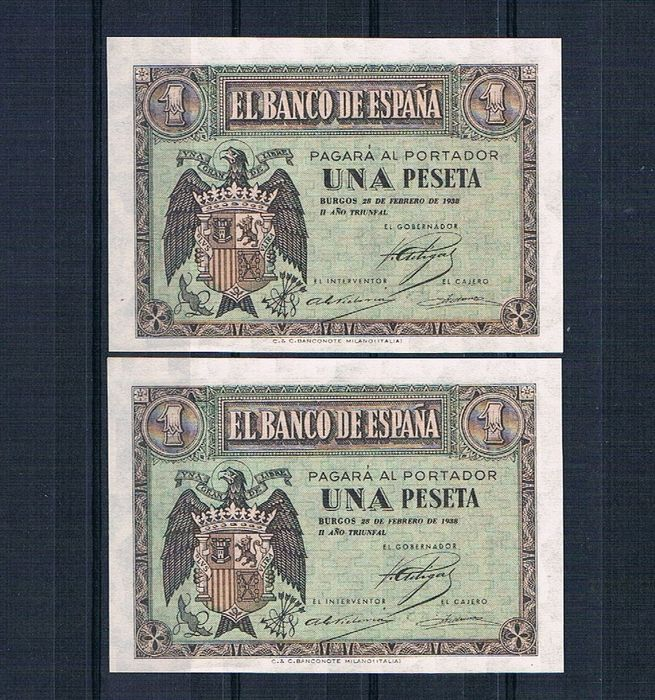 Spain - 1 Peseta, February 1938 - Series E - Pick 107a - Correlative pair