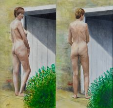 Percival A Bates (20th century) - A naked woman outside standing by a door in two poses