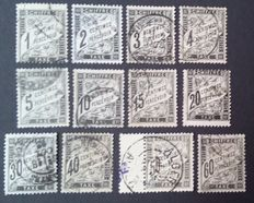 France 1881/1892 – Tax. Complete series of 12 stamps Duval type from 1 c. to 60 c. –  Yvert Tax stamp n° 10-21