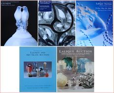 Literature : 5 Auction Catalogues on Lalique Glass