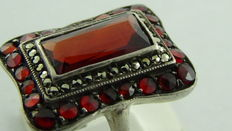 Silver Art Deco ring with rose cut Bohemian garnet and marcasites
