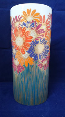 Rosenthal Rosamunde Nairac - porcelain vase with golden daisies - 28 cm in height