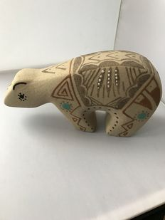 Ceramic bear, coloured with sand - NAVAJO - America