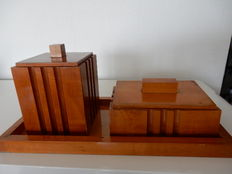 Former smoker table service in wood with tray - Art Deco - 1930 - France