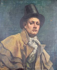 E Scott. (19/20 th century) - . Portrait if a gentleman in a hat and cloak.