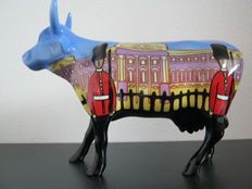 John Marshall for CowParade - porcelain cow - medium ceramic - Bovingham Palace - retired model with thin legs - including tag
