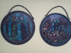 Pair of German stained-glass windows