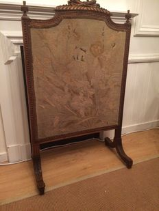 Cut beech wood summer fireplace screen in Louis XVI style with petit point embroidery - France - ca. 1880