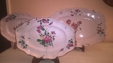 3 floral oval dishes