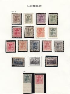 Luxemburg  1921/1935 - Selection of stamps and series on album sheets