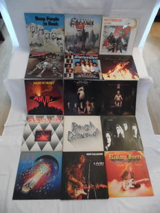 Great lot of 14 Albums & 1 Maxi - In Hardrock & Heavy Metal - In 16 Records - U.Other Deep Purple - Saxon - Motörhead - Status Quo - Anvil - Bodine - Marillion -