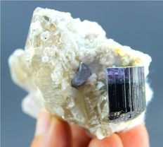 Purple Cap Tourmaline with Herderite , Smokey Quartz & Pink Lapidolite - 70 x 52 x 36 mm - 107gm