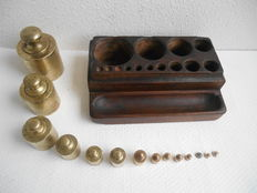 Large block Brass weights up to 2 kg - approx. 240 calibrations - France - approx. 1890