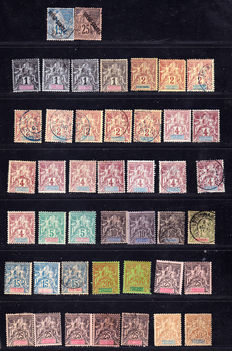 Diego Suarez 1892-1893 - 89 stamps including tax Yvert no.1