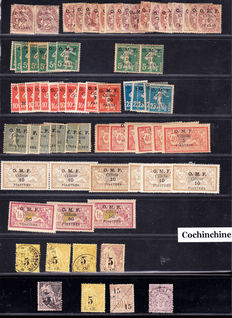 Rouad, 140 stamps with duplicates, Cilicie and Cochinchine 77 stamps 1916/1920 - With good values including a 5 fr stamp from Shanghai, China