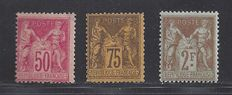 France 1890/1898 - Sage 50c, 75c and 2 Fr. - Yvert 98, 99 and 105