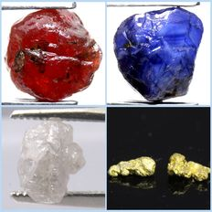 Unheated ruby (3.10 ct), Unheated sapphire (2.05 ct), Unheated diamond (1.57 ct) and nuggets gold (2)  (1.67 ct/.33 gm)