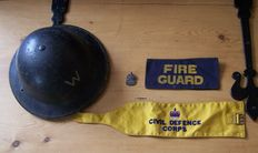 Air Raid Warden helmet, Sterling Silver Badge and Armbands
