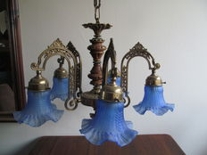 Brass hanging lamp with five arms and glass lampshades