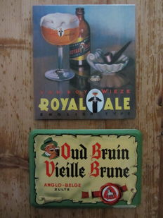 2 advertising signs metal/process glacoïde - 'Oud Bruin Anglo Belge' - 1970 Royal Ale Wieze - 1982.