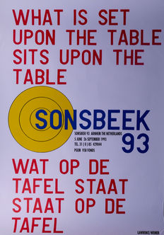 Lawrence Weiner - What is set upon the table - Sonsbeek 1993
