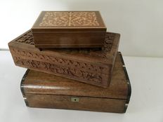 Wooden playing card box, wooden cigar box and a wooden games box