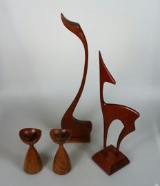 "Designer(s) unknown - 2 teak ""Danish design"" candlesticks, with a decorative wooden swan and deer"