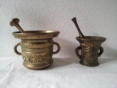 Two Old brass pestle and mortars