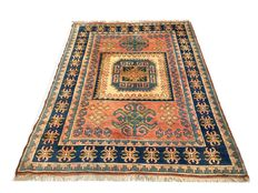 Beautiful antique Oriental carpet.  Kazakh 245 x 180 cm.