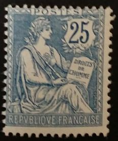 France 1902 - Mouchon, retouched, 25 c. Blue, signed Calves with digital certificate - Yvert n° 127