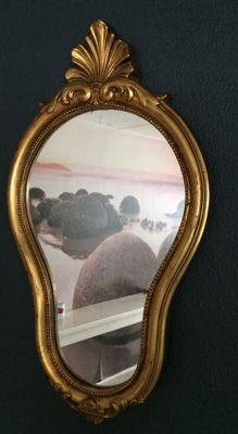 Golden mirror in rococo style, second half 20th century,