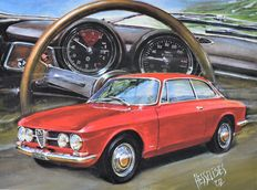 "Alfa Romeo 1750 GTB - original lithography by Hessel Bes - ""MILANO of LEGENDS"""