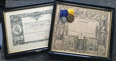 Clasp medals with framed awards