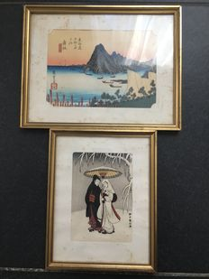Two Prints from Hiroshige and from Haronobu (recarving) - Japan - 19th Century.