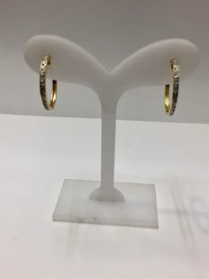 Gold hoop earrings with diamonds of 0.35 ct